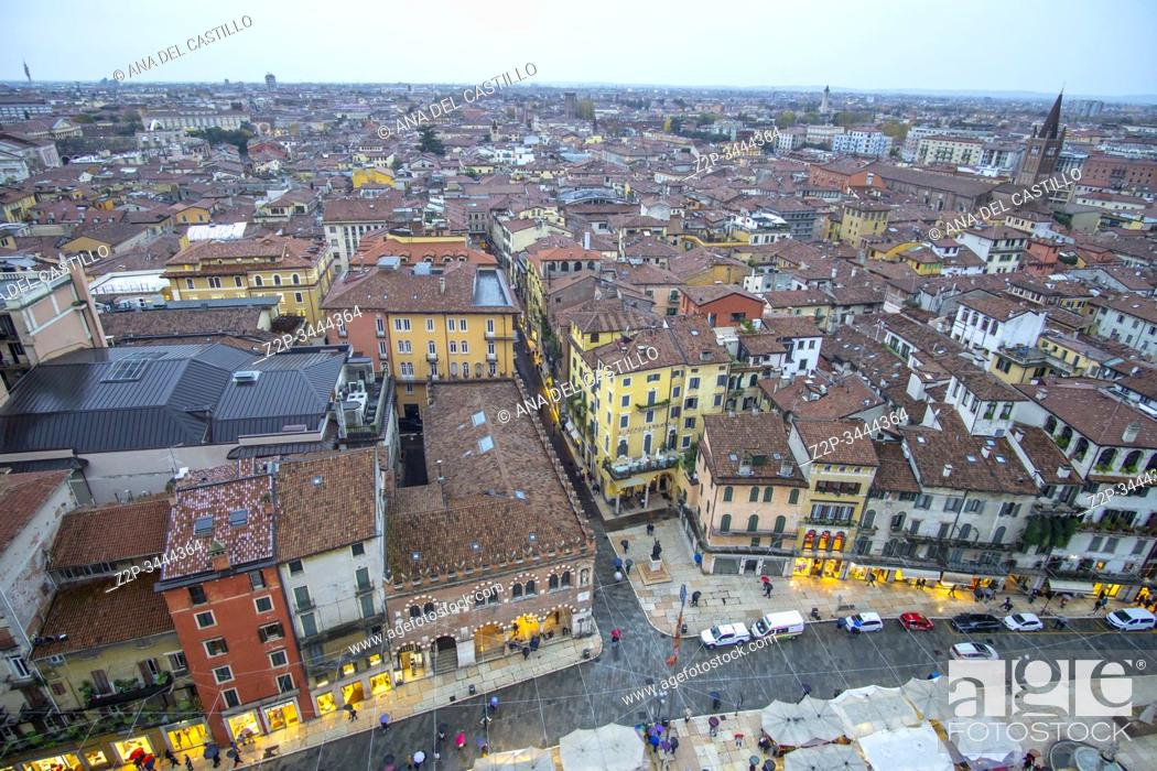 Stock Photo: Verona Veneto on November 23, 2019: Verona from Lamberti tower.