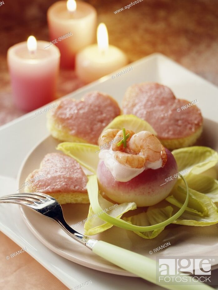 Stock Photo: Small turnips stuffed with shrimps and tarama on toast.