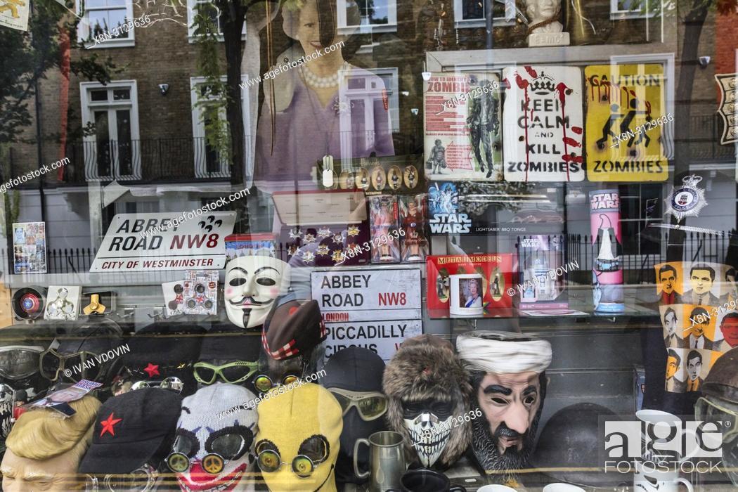 Stock Photo: Souvenir shop, Portobello Road, London, England, UK.