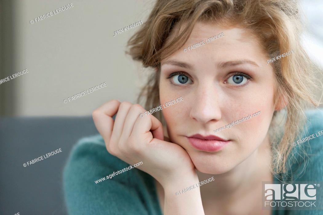 Stock Photo: Woman looking sad.