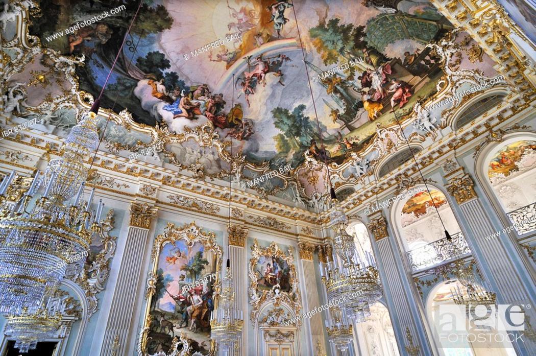 Stock Photo: Entrance Hall, Nympenburg Palace, Munich, Bavaria, Germany, Europe.