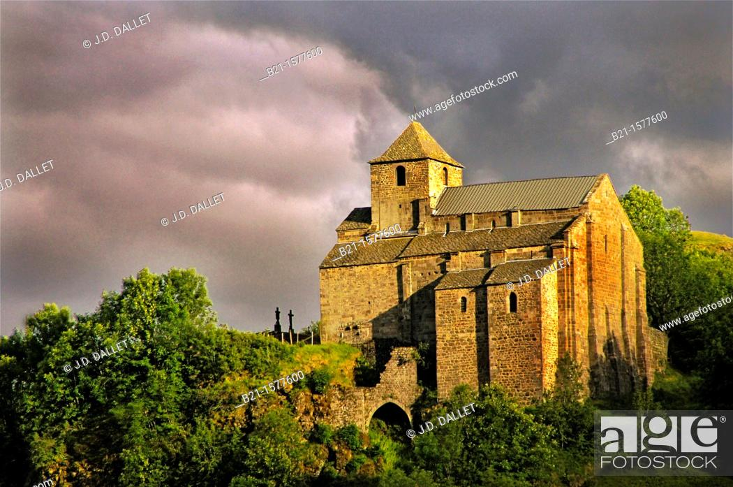 Stock Photo: Romanesque church at Murat, Cantal, Auvergne, France.