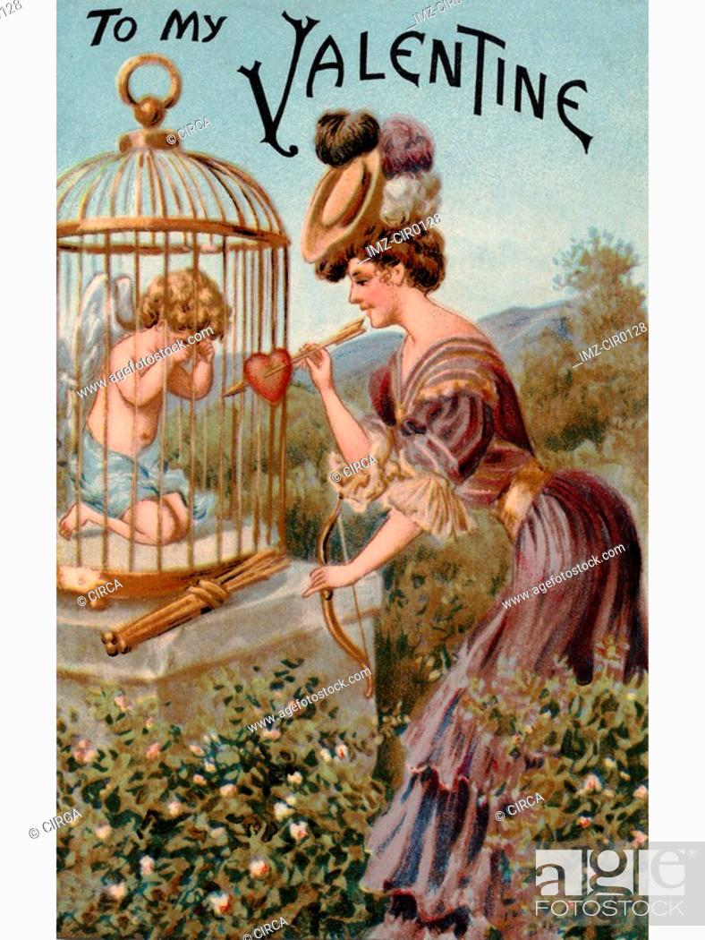 Stock Photo: A vintage Valentine with a woman giving a bow and arrow back to a crying Cupid in a cage.