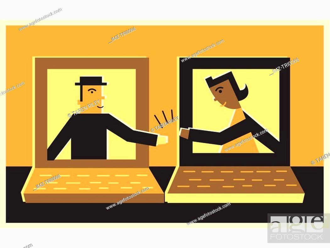 Stock Photo: Two people inside computers, communicating online.