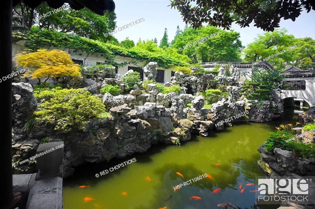 Stock Photo: Pond in a garden, Yu Yuan Gardens, Shanghai, China.
