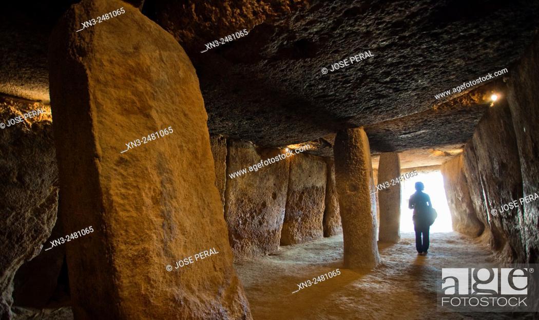Stock Photo: Dolmen of Menga, Menga megalithic dolmen, 3rd millennium BCE, Antequera, Málaga province, Andalusia, Spain, Europe.
