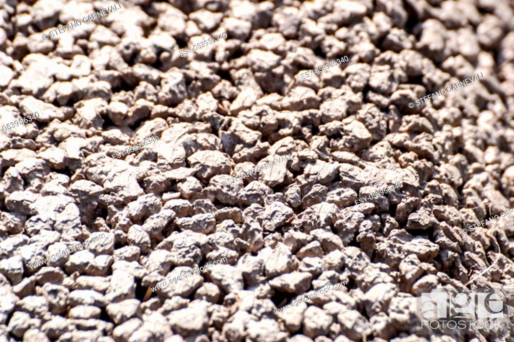 Stock Photo: Light grey gravel Pebble floor texture, top view.