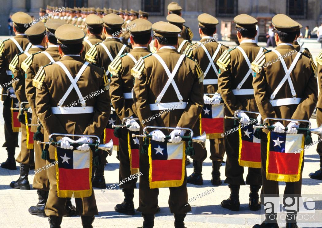 Stock Photo: Music Concert before La Moneda Building  Chilean Army Music Band  Santiago de Chile  Chile.