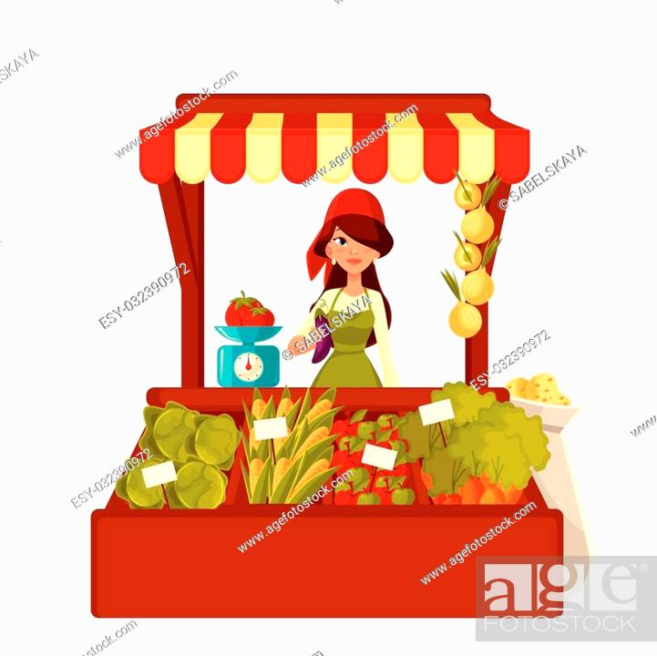 Stock Vector: Sale of farm vegetables in the market, vector cartoon woman sells fresh vegetables and fruits at the market, retail sales of fresh homemade products.