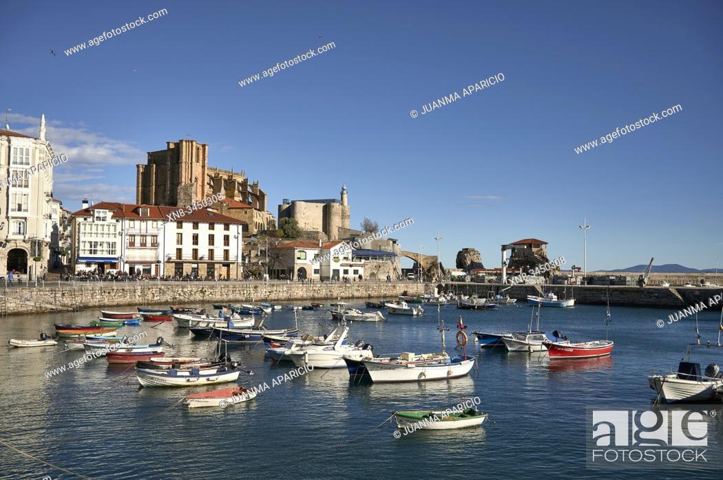 Stock Photo: Santa Maria Church, Lighthouse and marina, Castro Urdiales, Cantabria, Spain.