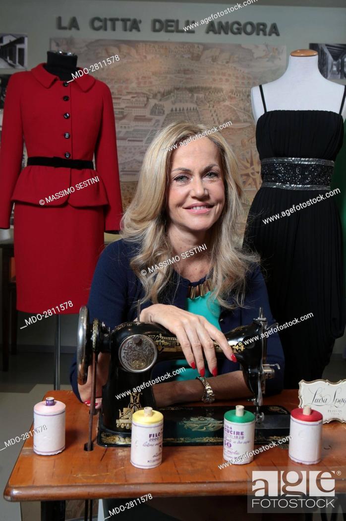 Stock Photo  The entrepreneur Nicoletta Spagnoli leaning on a sewing  machine. Perugia 08efc3121c7