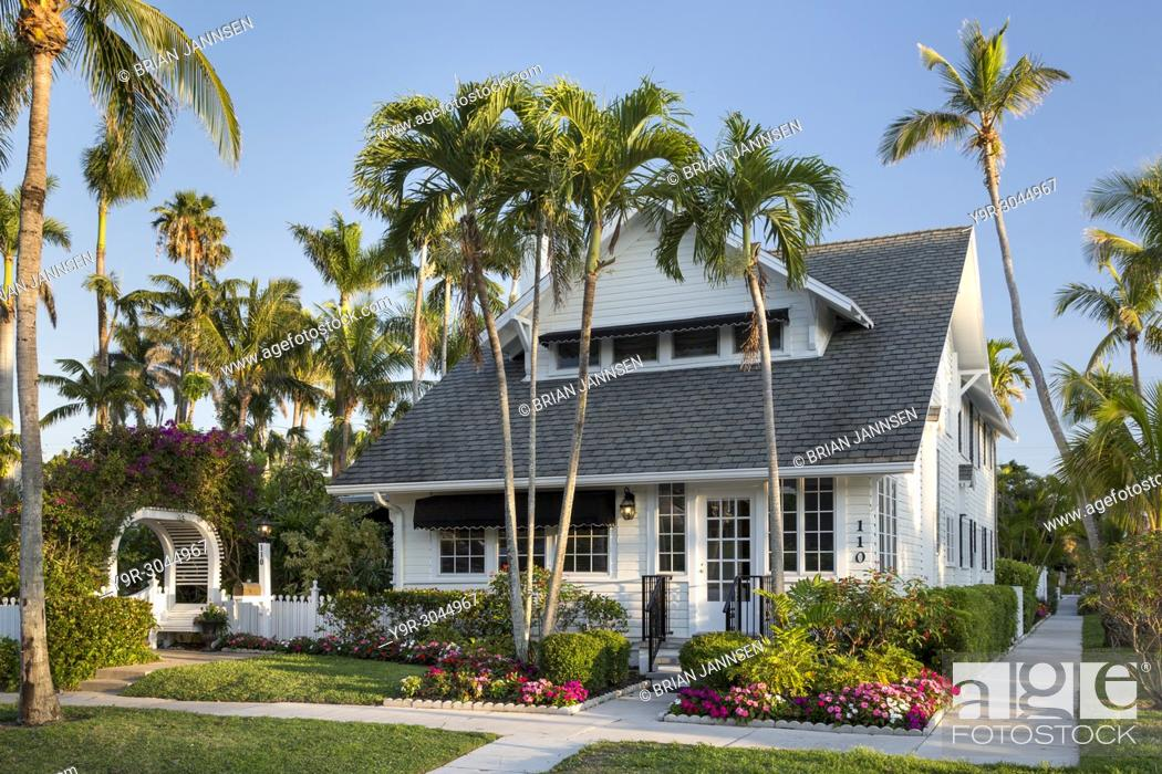 Stock Photo: Dupont Family Cottage - one of the historic cottages of old Naples, Florida, USA.