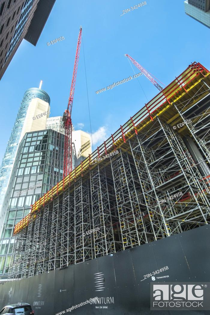 Stock Photo: omnitower construction site in frankfurt's financial district, japan center, maintower, commerzbank tower, and taunus tower, frankfurt, hesse, germany.