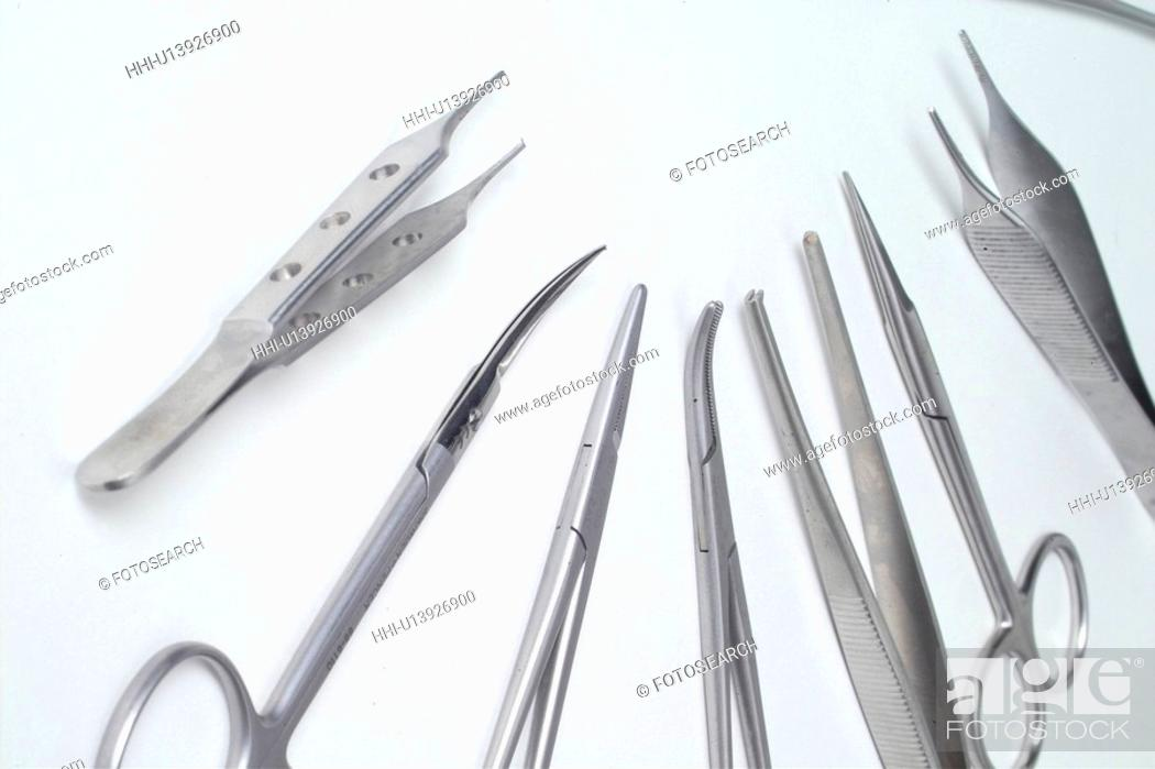 Stock Photo: medical equipment, pincette, health care, medication, medicine, medical instrument, scissors.