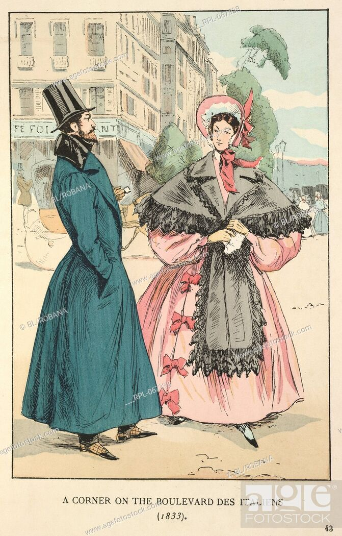 Imagen: A corner on the Boulevard des Italiens 1833. A gentleman wearing a long green coat and top hat. A lady wearing a pink dress, bonnet and grey stole.
