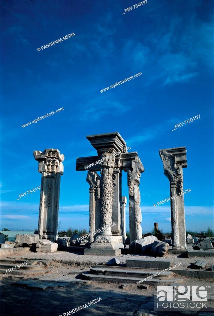 Stock Photo: the westen-style pillars in the YuanMing Imperial Garden, Beijing.
