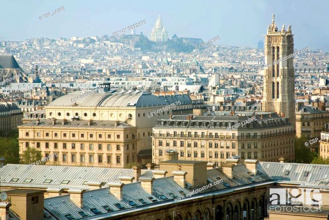 Stock Photo: Bird-view of Paris from the Notre-Dame de Paris. Saint-Jacques Tower and basilica Sacre-Coeur.