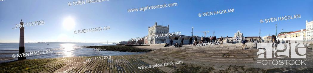 Stock Photo: View of Praca do Comercio in Lisbon, Portugal.