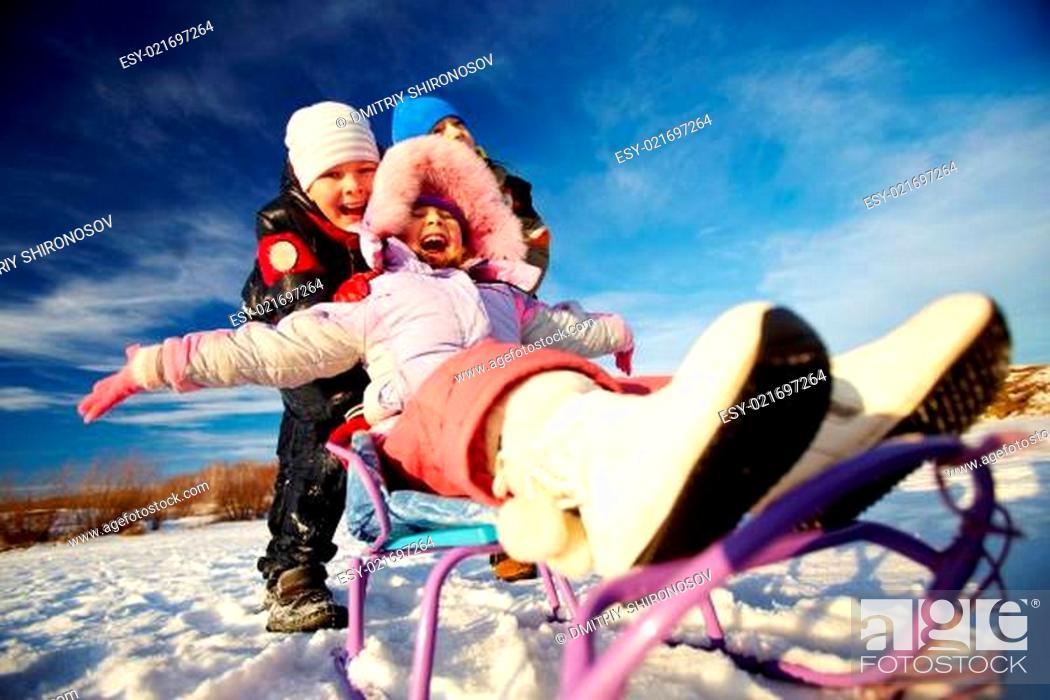 Stock Photo: Riding on sledge.