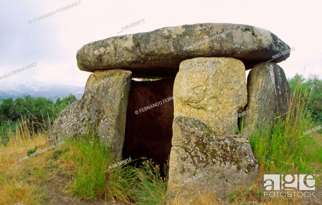 Stock Photo: Casa da Moura dolmen. Baixa Limia-Serra do Xurés Natural Park. Orense province, Galicia, Spain.