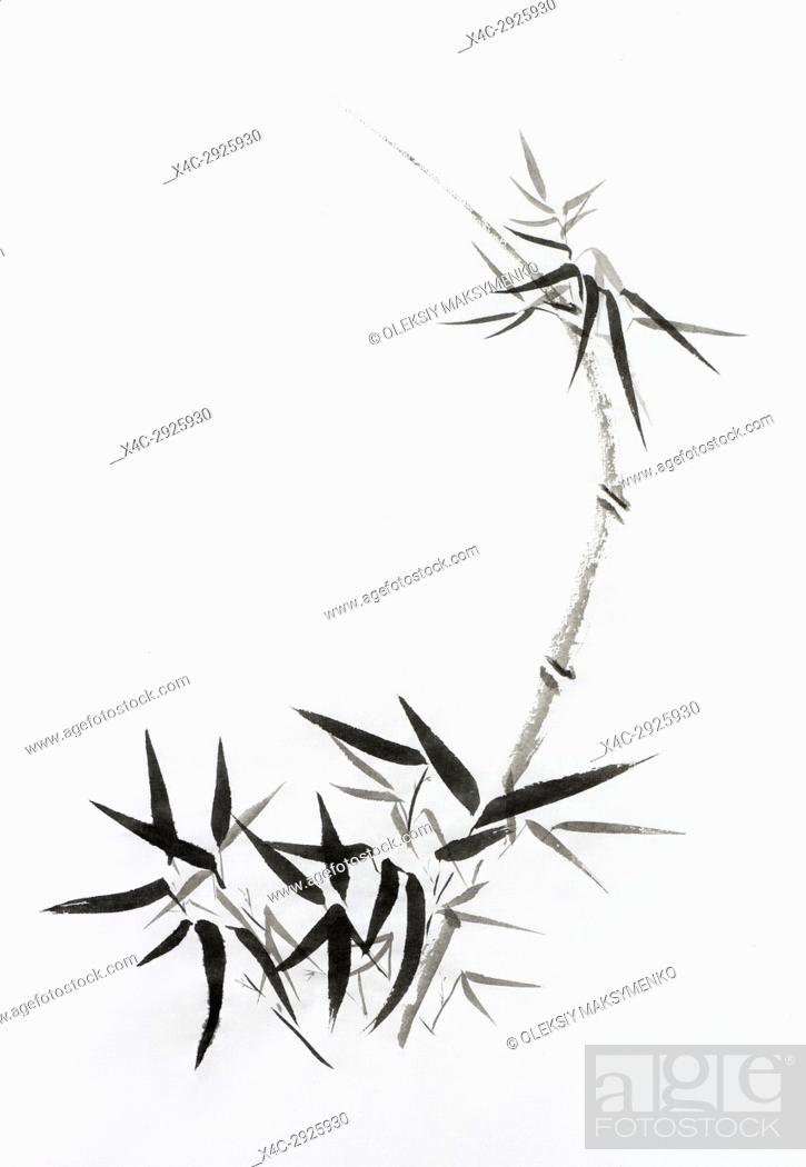 Stock Photo: bamboo stalk with young leaves, beautiful Japanese Zen painting Sumi-e, oriental black ink on rice paper illustration fine artwork.