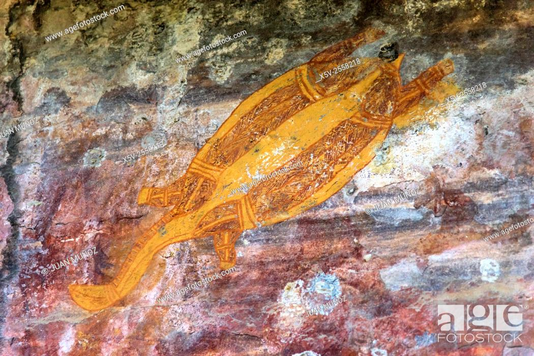 Stock Photo: Paintings. Aboriginal art. Ubirr. Kakadu National Park, Northern Territory. Australia.
