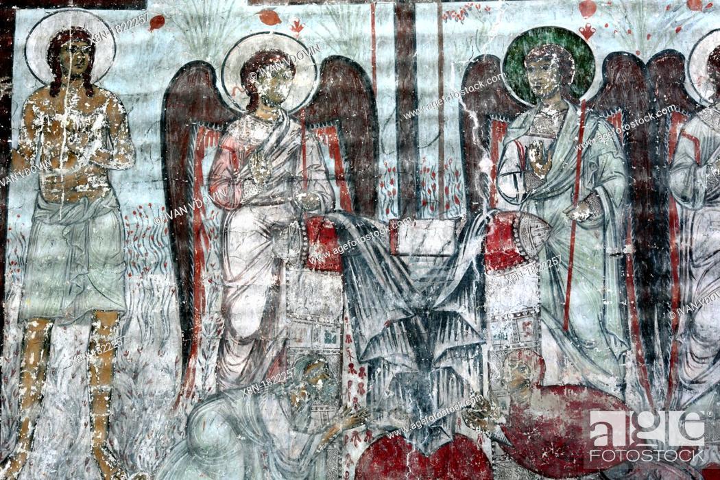 Stock Photo: Mural painting 13th century, Church of the Dormition, Timotesubani, Samtskhe-Javakheti, Georgia.