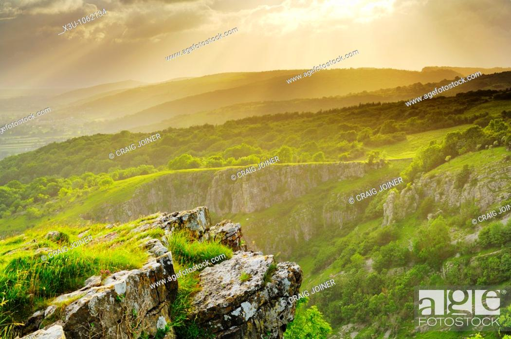 Stock Photo: View of Cheddar Gorge on the edge of the Mendip Hills in Somerset, England, United Kingdom.