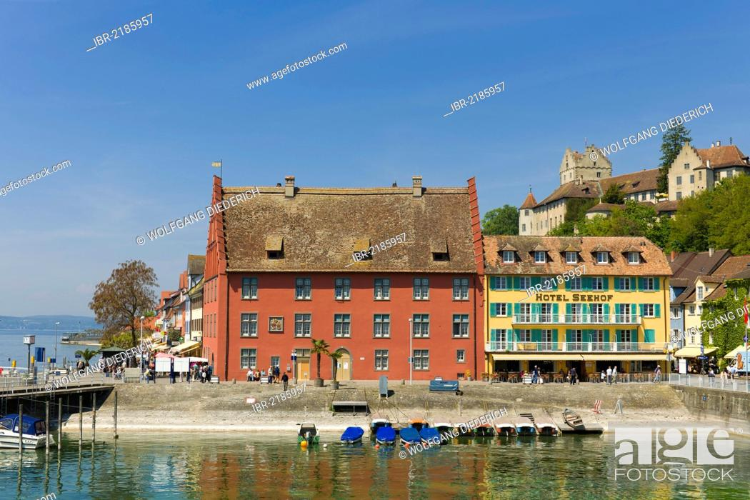Stock Photo: Grethaus building and Seehof Hotel, lakeside promenade, Unterstadt district, Meersburg, Lake Constance, Baden-Wuerttemberg, southern Germany, Germany, Europe.