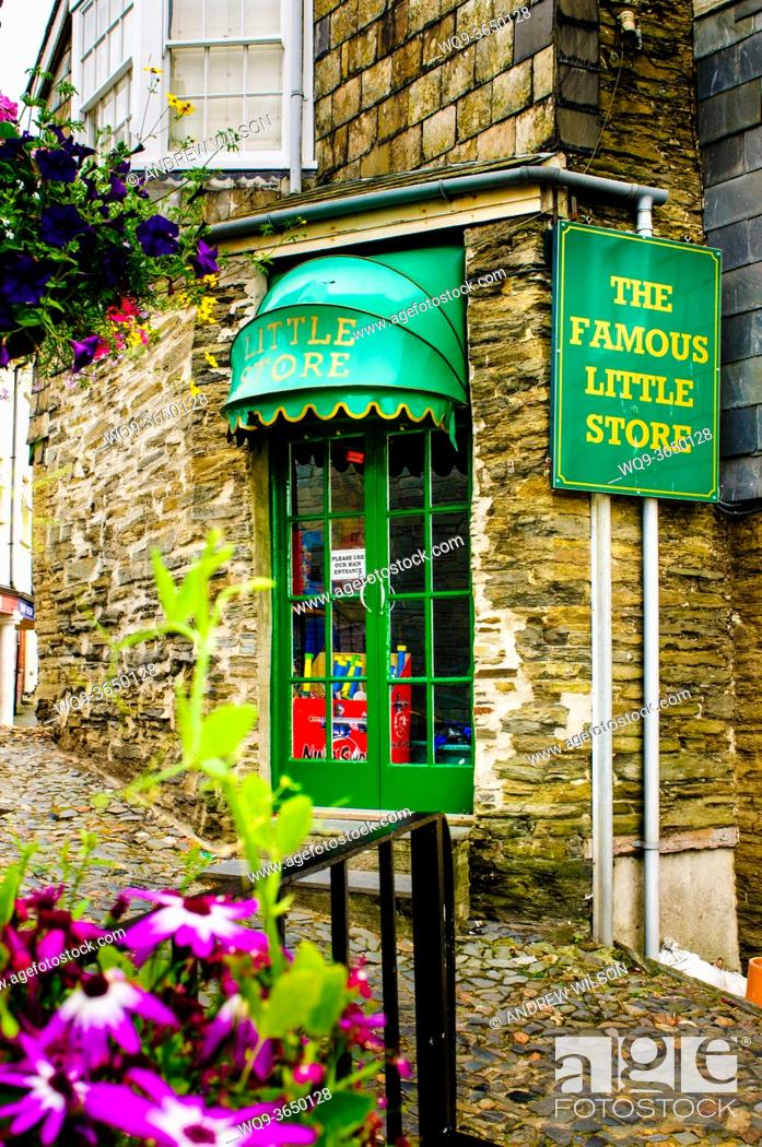 Stock Photo: The 'Famous Little Store' in a quaint old cobbled street in Padstow, Cornwall, England.