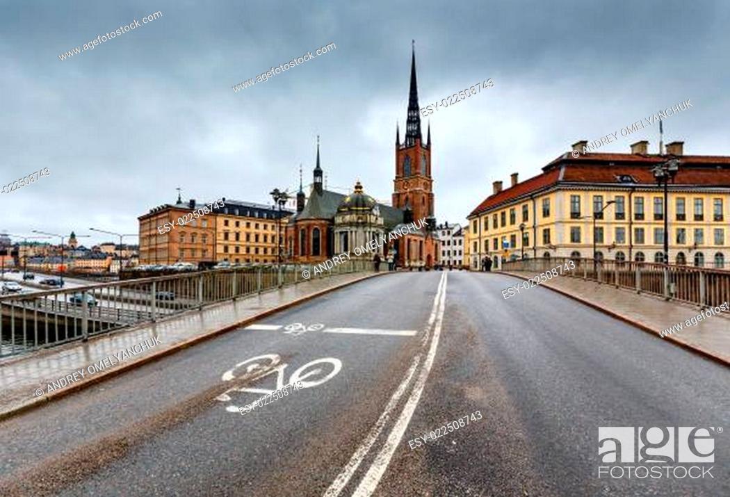Stock Photo: Riddarholmskyrkan Church in Stockholm Old Town (Gamla Stan), Swe.