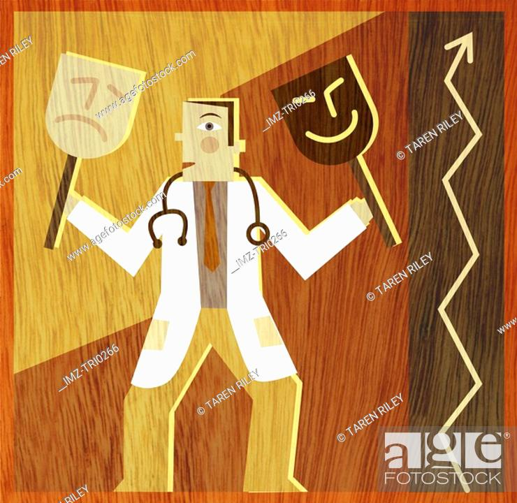 Stock Photo: A doctor holding a happy mask and a frowning mask next to a graph pointing upwards.