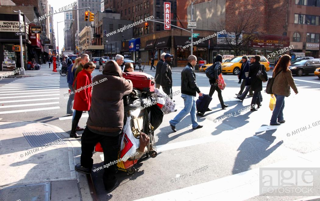 Stock Photo: New York City, street scene , homeless , manhattan.