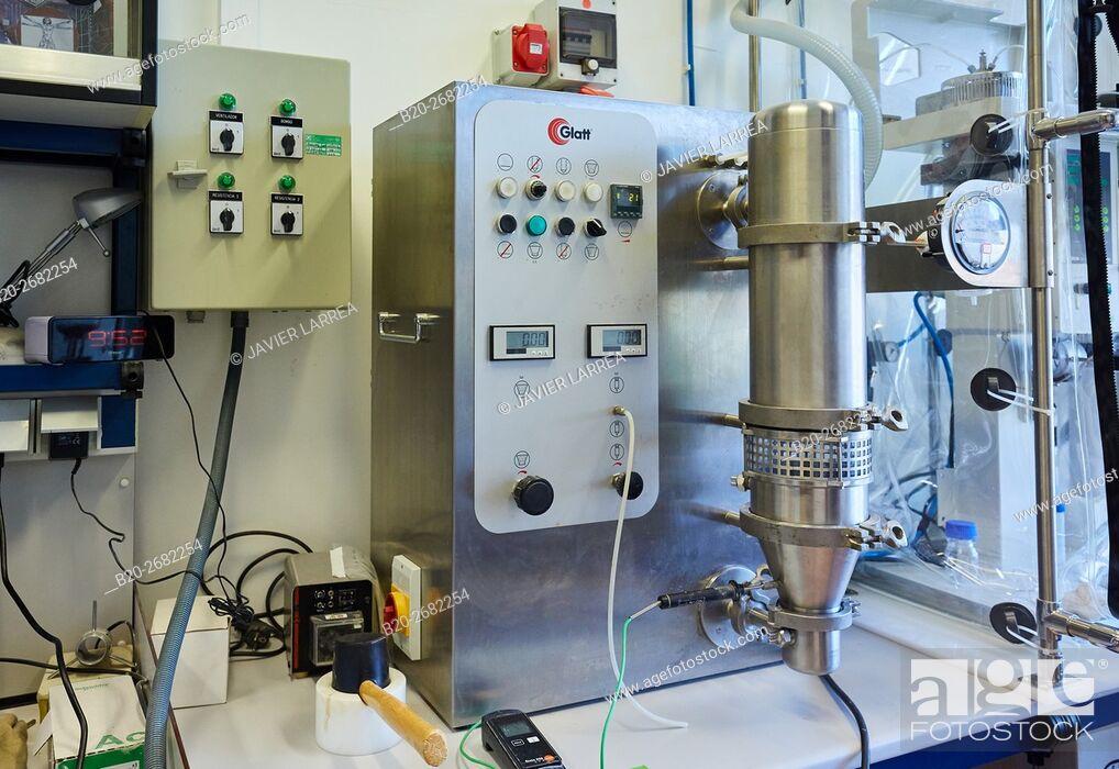 Stock Photo: Coating Pan. Pharmaceutical Development Laboratory. Pre-formulation, design and development of drugs and new pharmaceuticals.
