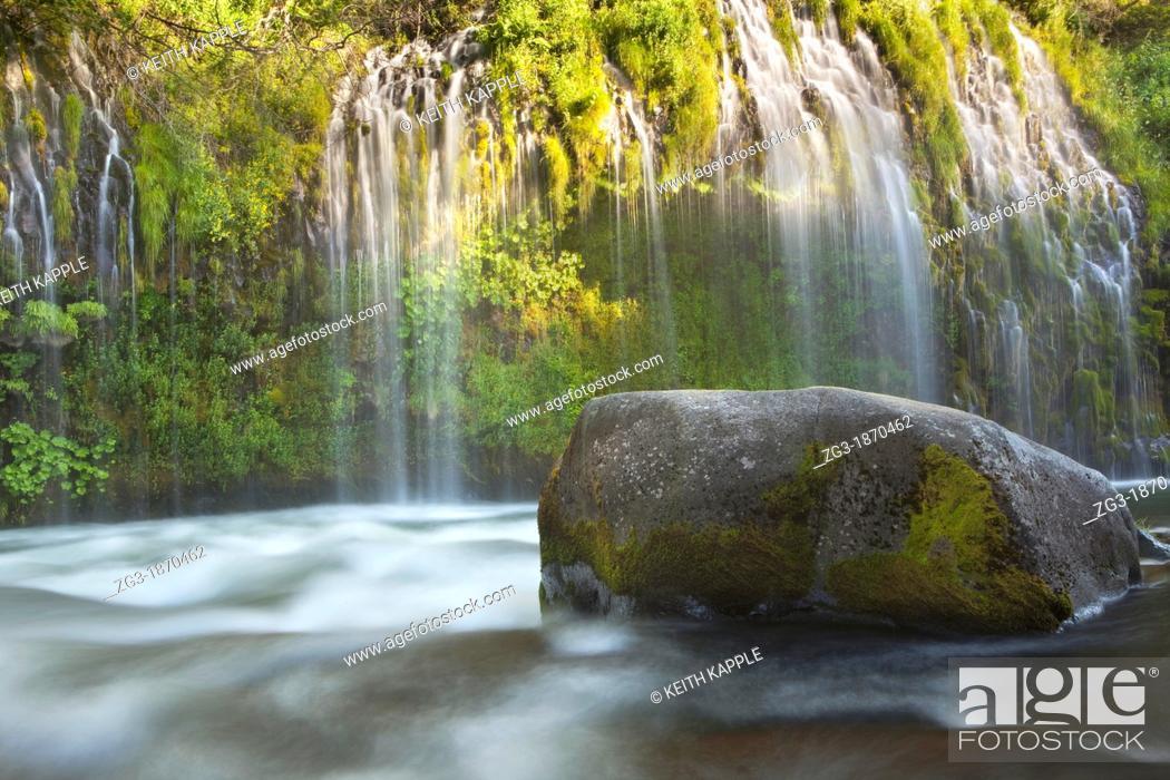 Stock Photo: Evening warm light at Mossbrae Falls, Shasta National Forest, California, USA.