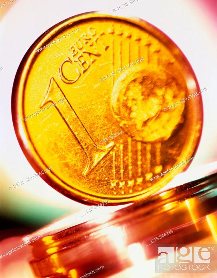 Stock Photo: Euro coin.