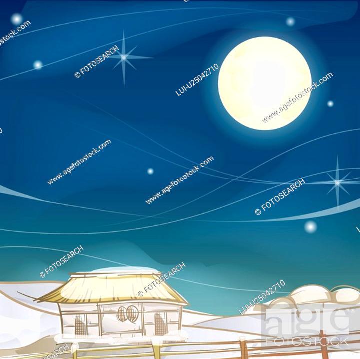 Stock Photo: village, season, snowing, snow, winter, fence, background.