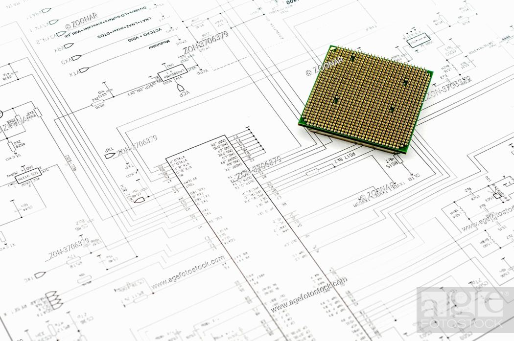 Stock Photo: Integrated micro electronics component on microcircuit diagram drawing.