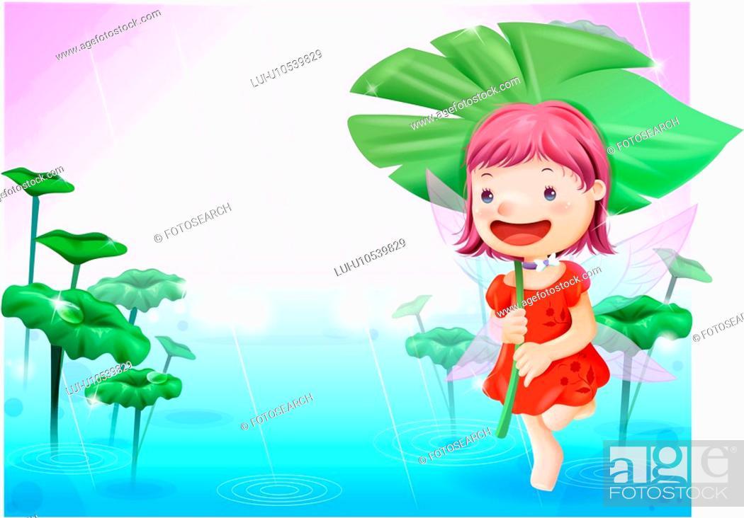 Stock Photo: fairy tale, holding, rain, lake, nature.