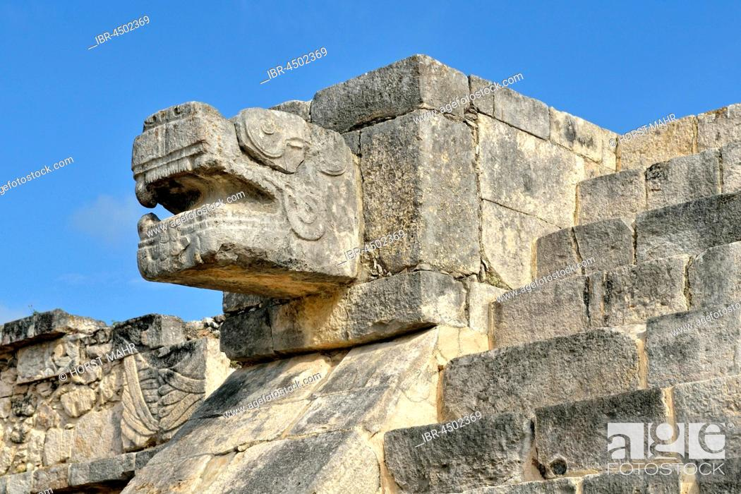 Stock Photo: Snakehead, Plataforma de Venus, Venus Platform, historic Mayan city of Chichen Itza, Piste, Yucatan, Mexico.