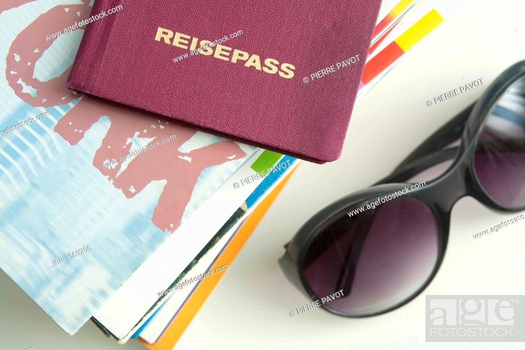 Stock Photo: Passport, travel guides and sunglasses, symbolic image summer vacation.