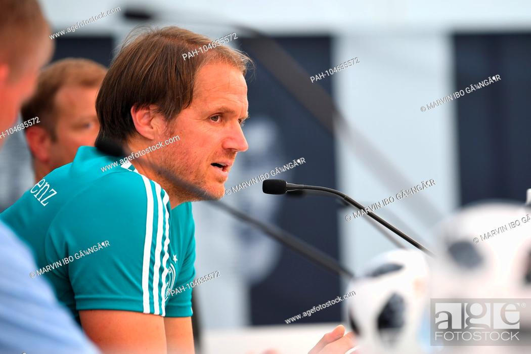 Stock Photo: Assistant coach Thomas Schneider (DFB). GES / Football / Preparing for the 2018 World Cup: Press conference of the German national team in South Tyrol, 30.
