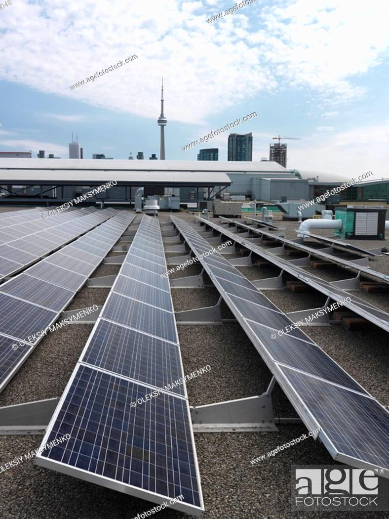 Solar panels on a roof of Direct Energy Center building in Toronto