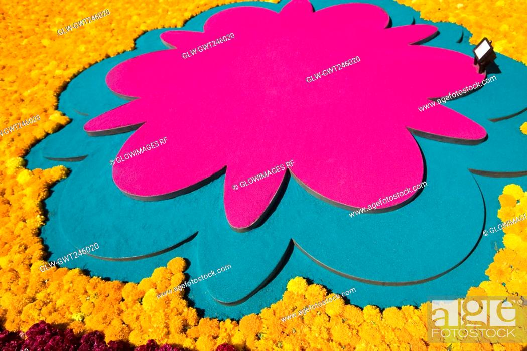 Stock Photo: Flowers on a grave, Morelia, Michoacan State, Mexico.
