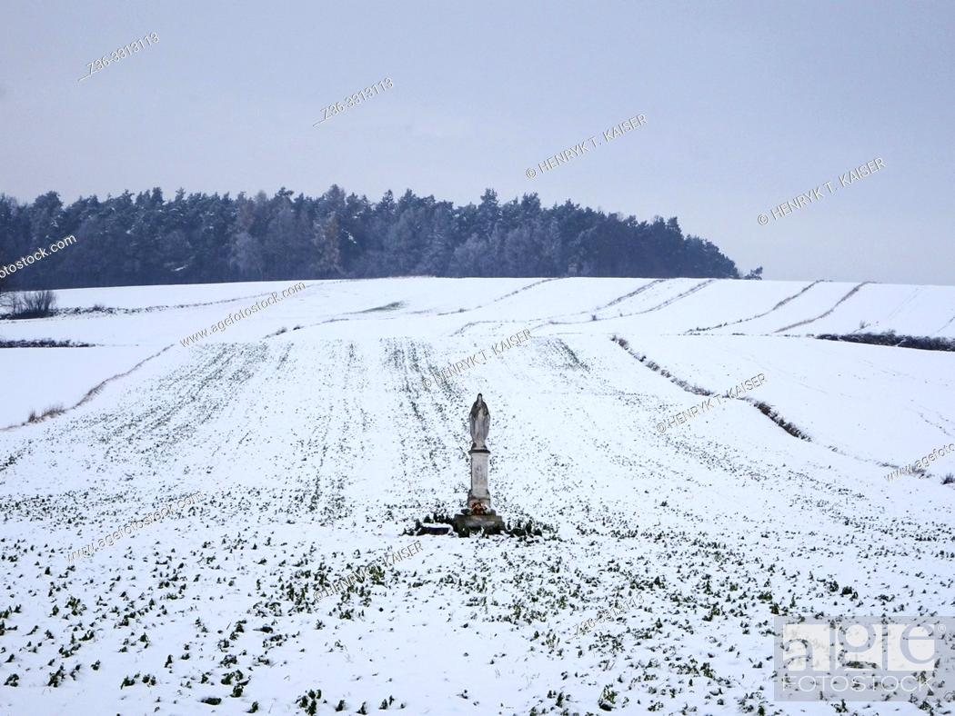 Stock Photo: Shrine in Muniakowice at winter, Lesser Poland.