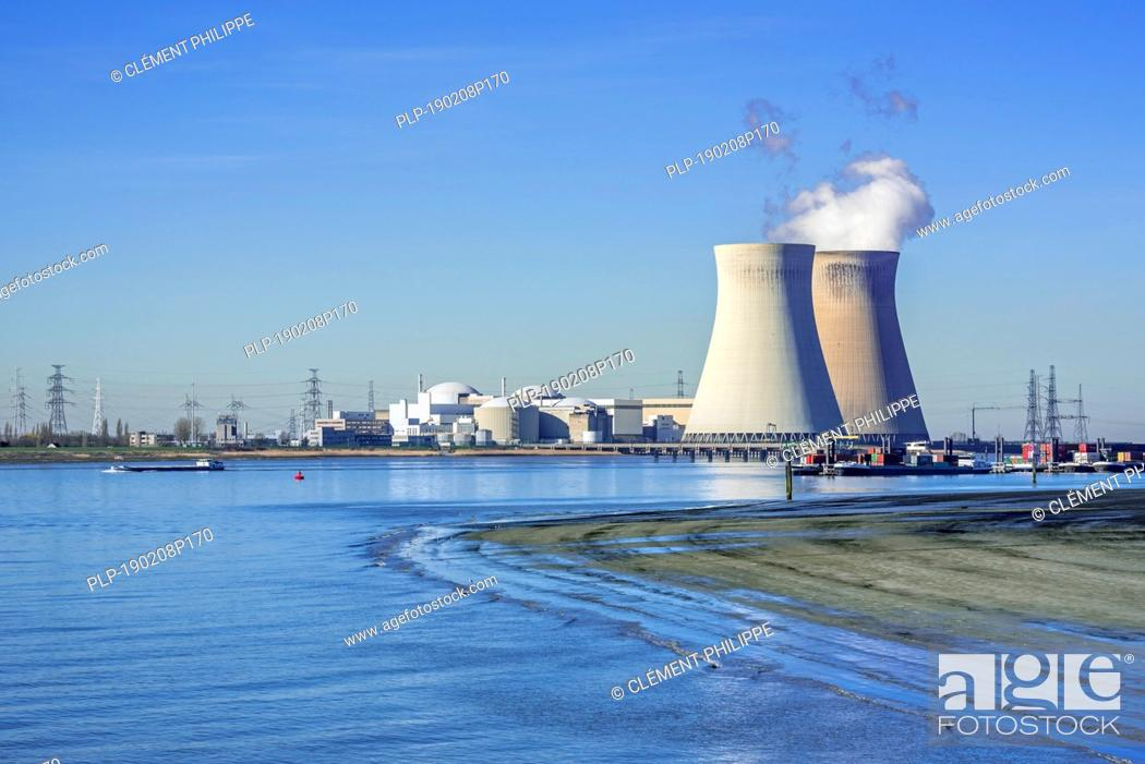 Stock Photo: Doel Nuclear Power Station / nuclear power plant in the Antwerp harbour along the river Scheldt / Schelde, Flanders, Belgium.