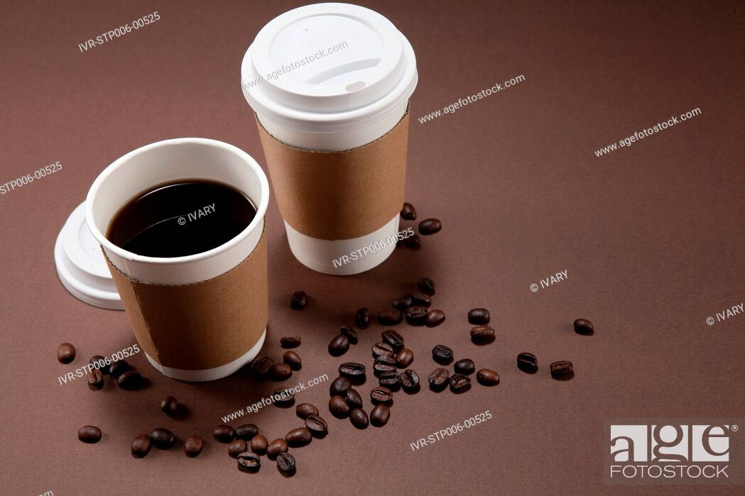 Stock Photo: Disposable Cup And Coffee Beans.