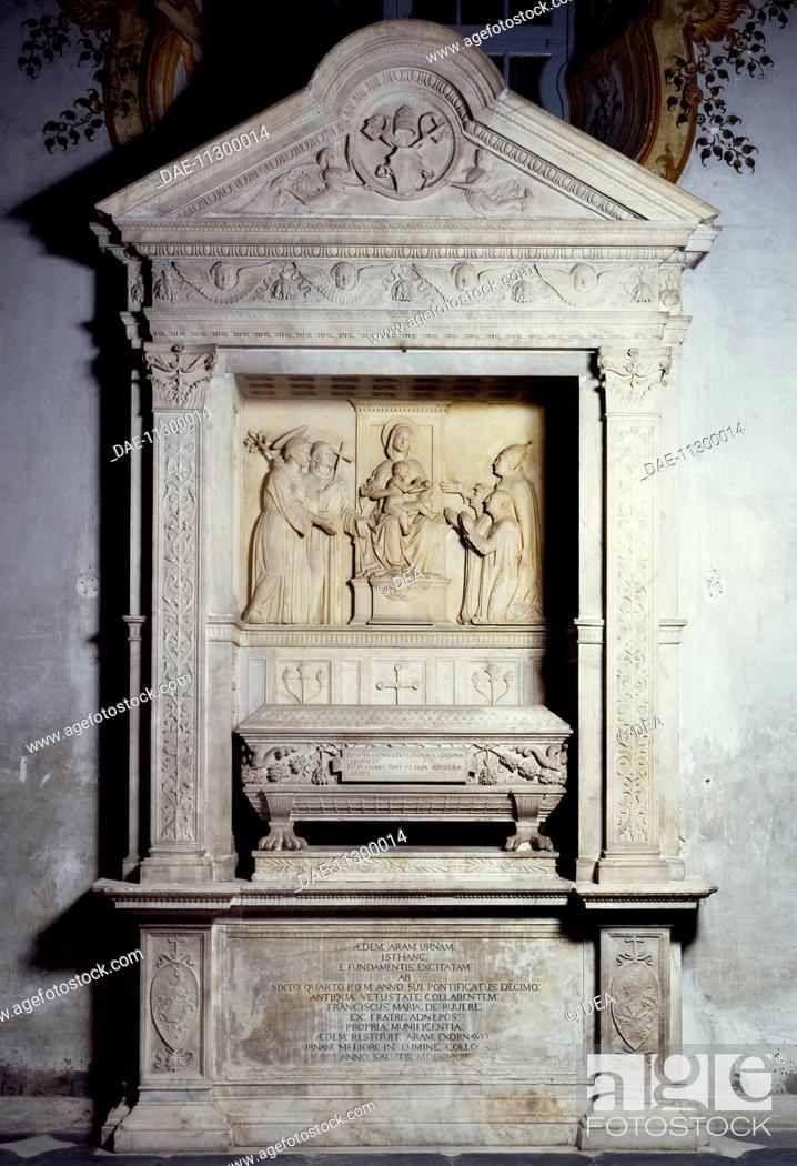Stock Photo: Tomb of Leonardo Della Rovere and Luchina Monleone, by Michele D'Aria (ca 1446-1500). Sistine Chapel, Savona. Italy, 15th century.