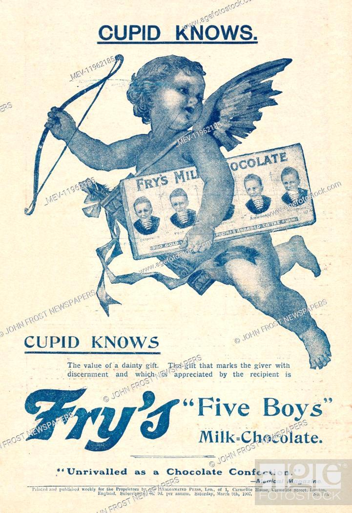 1907 Uk Magazine Frys Five Boys Chocolate Advert Stock