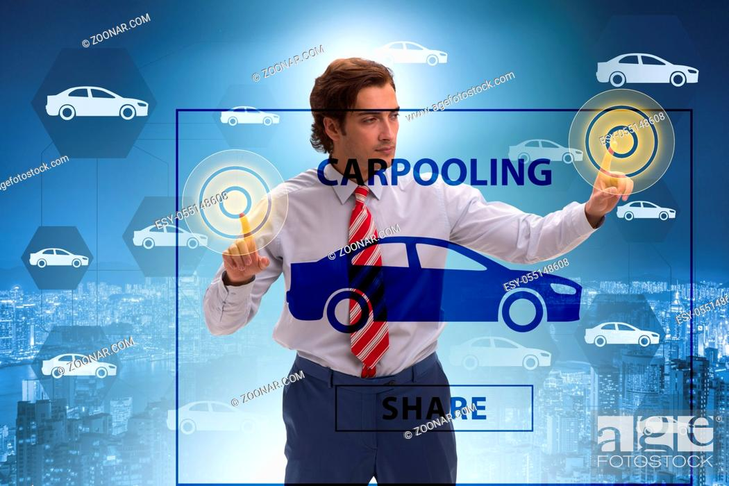 Stock Photo: Businessman in carpooling and carsharing concept.
